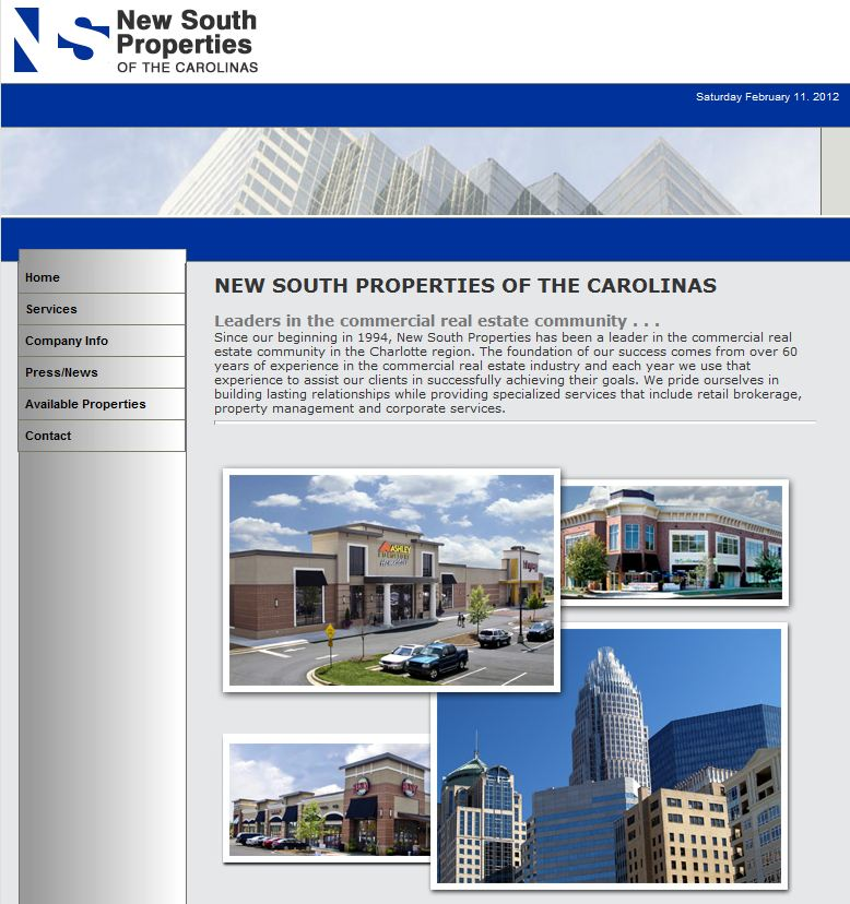New South Properties of the Carolinas Website